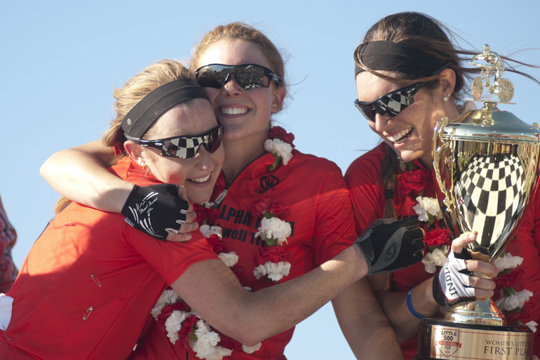 Brenna McGinn, Kate McDougal and Elizabeth Lieberman celebrate their victory in the women\'s Little 500 at Bill Armstrong Stadium in Bloomington, Friday, April 25, 2014.