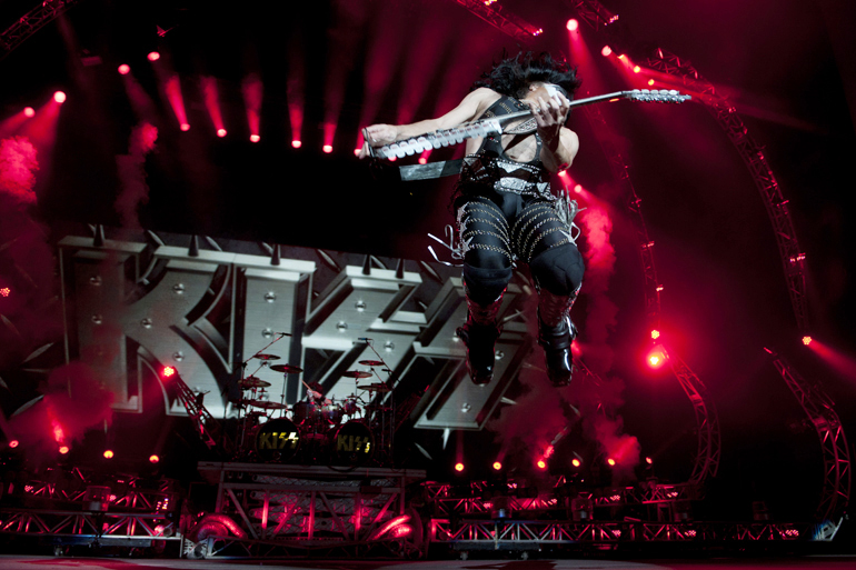 Paul Stanley of KISS performs at Klipsch Music Center, Friday, Aug. 22, 2014.